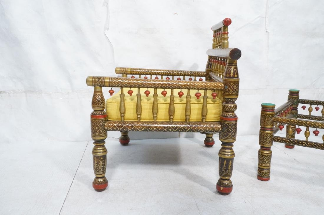 2 East Indian Style Decorator Chairs. Ottoman. Hi - 4