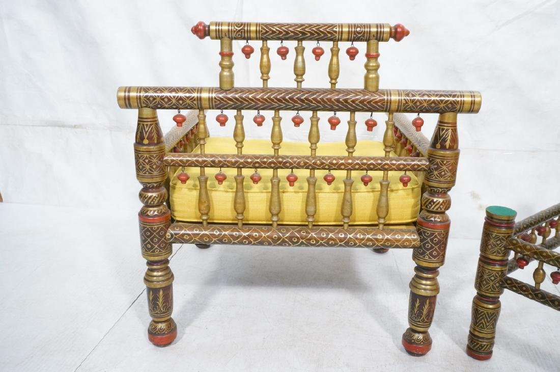 2 East Indian Style Decorator Chairs. Ottoman. Hi - 5