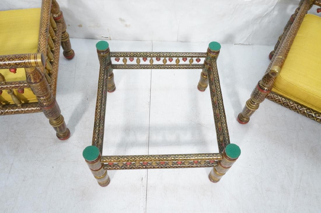 2 East Indian Style Decorator Chairs. Ottoman. Hi - 8