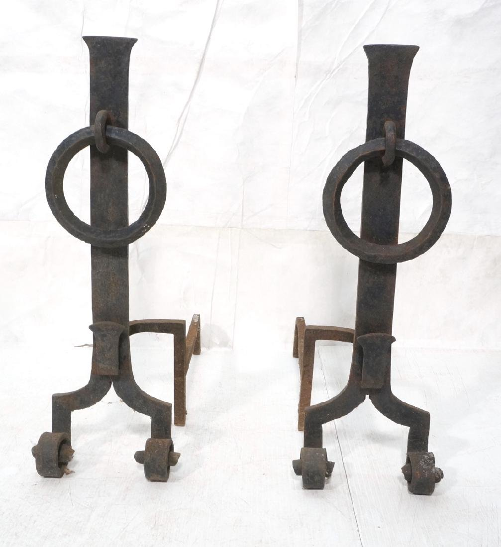 """Pr Large Heavy Iron Andirons Fire Dogs. Tall """"I"""""""