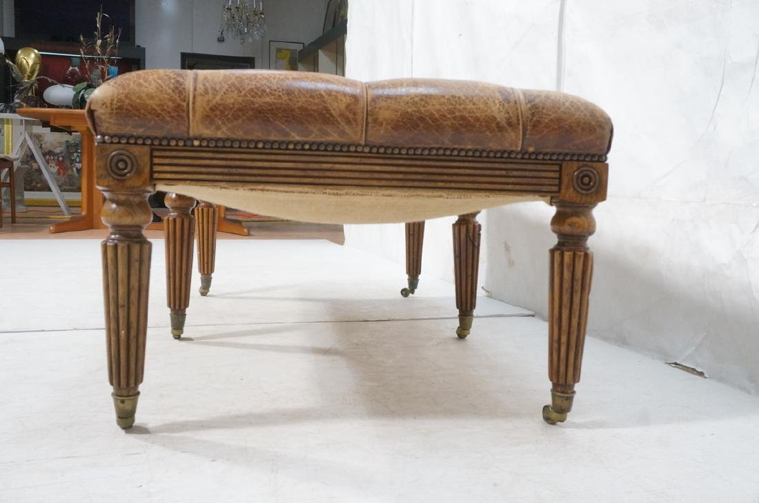 Decorator Chesterfield Leather Oak Bench Ottoman. - 3