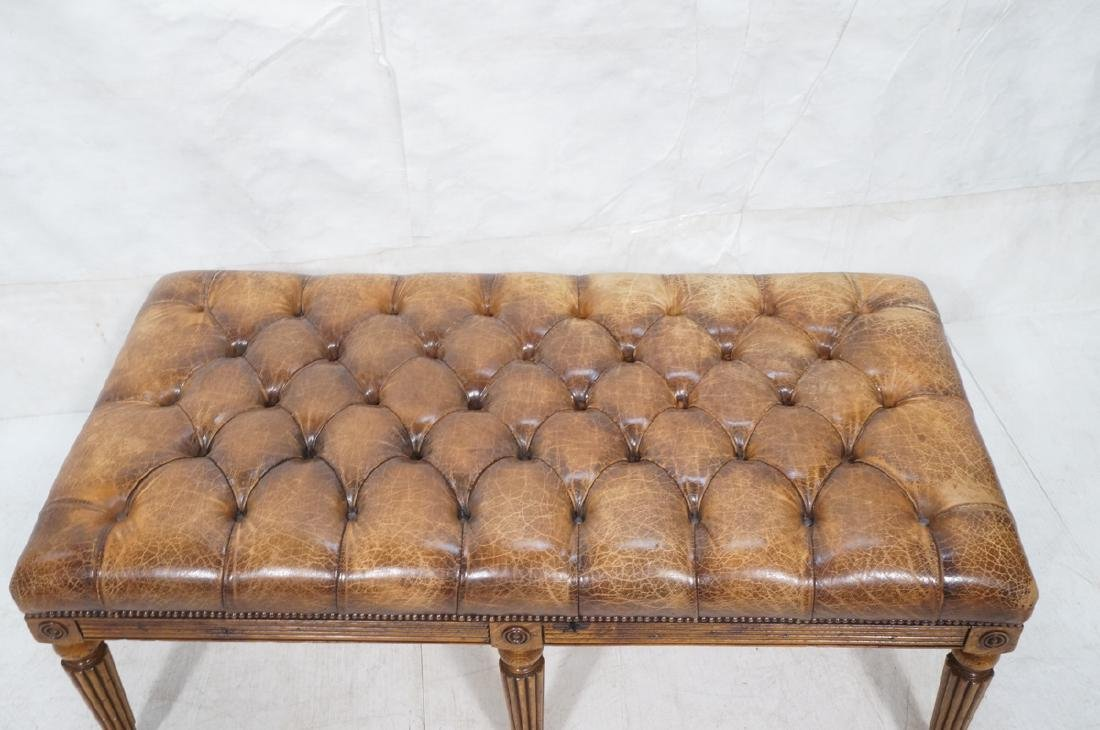 Decorator Chesterfield Leather Oak Bench Ottoman. - 4