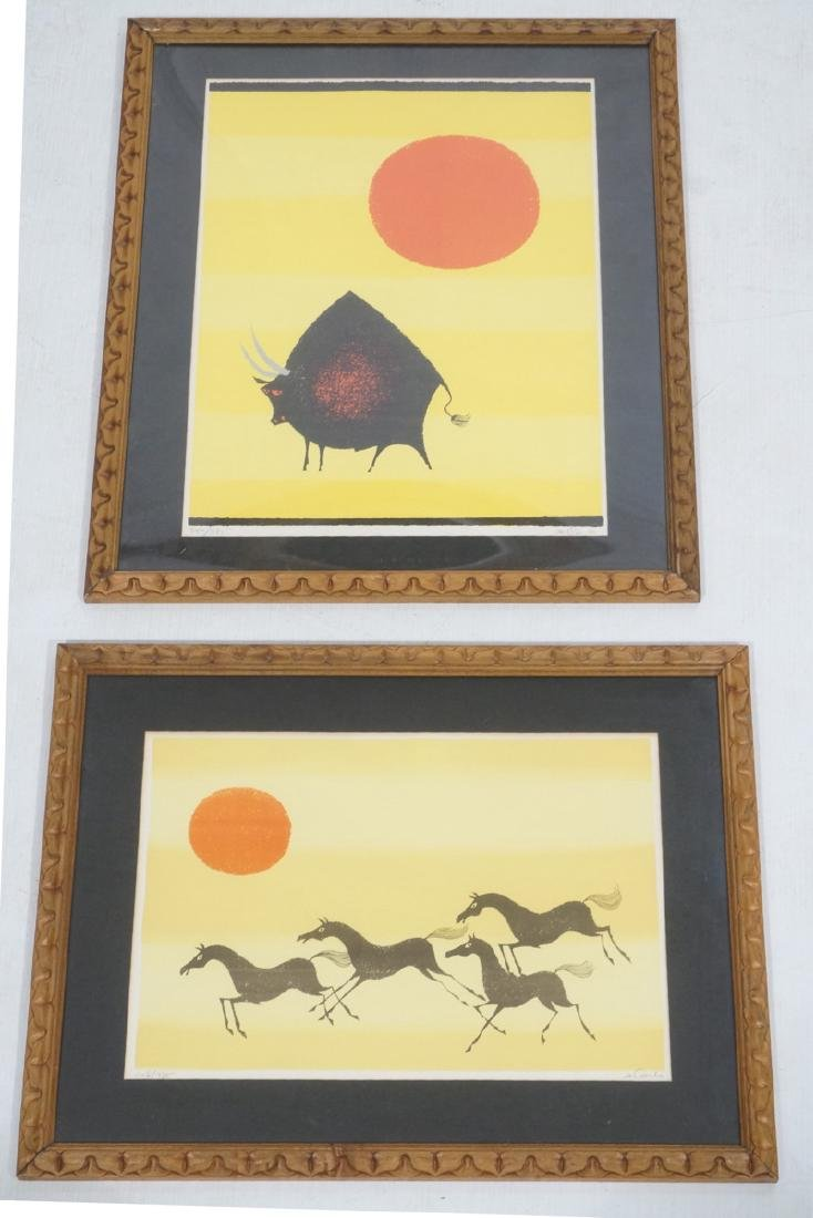 2pc DeCARLO Signed Prints. Yellow ground with red