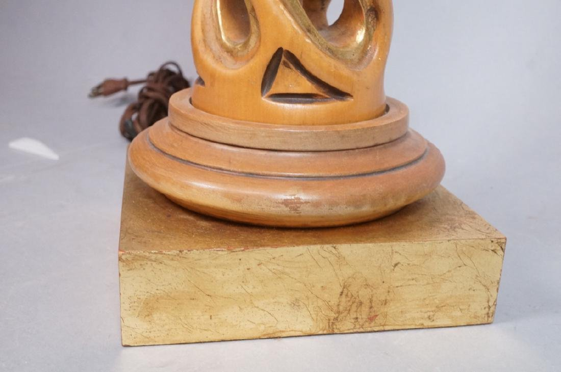 Carved Twisted Open Wood Column Table Lamp Decora - 3
