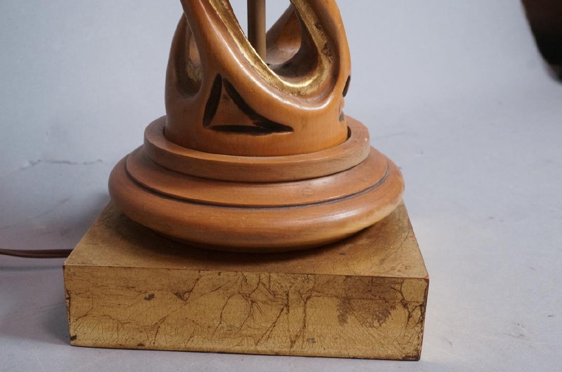 Carved Twisted Open Wood Column Table Lamp Decora - 4