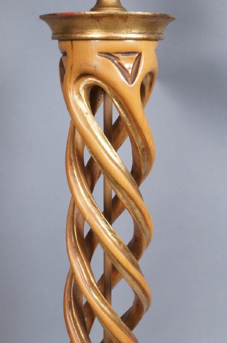 Carved Twisted Open Wood Column Table Lamp Decora - 6