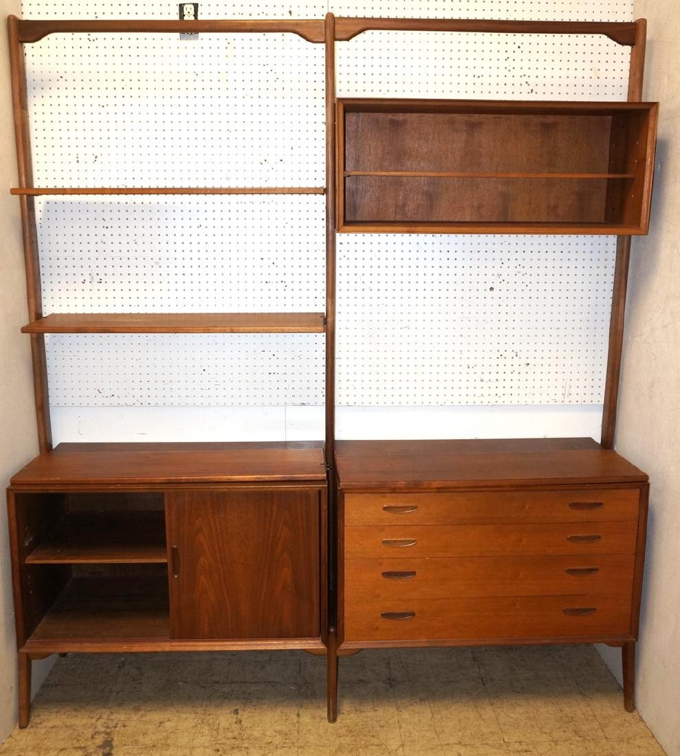 American Modern Walnut Shelf Cabinet Unit. Open c