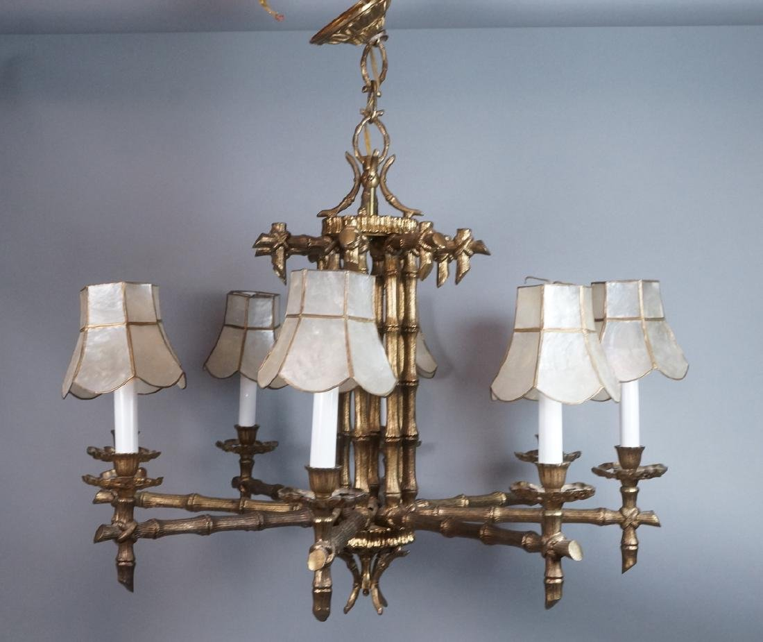 Gold Tone Faux Bamboo 8 Arm Hanging Chandelier. 8