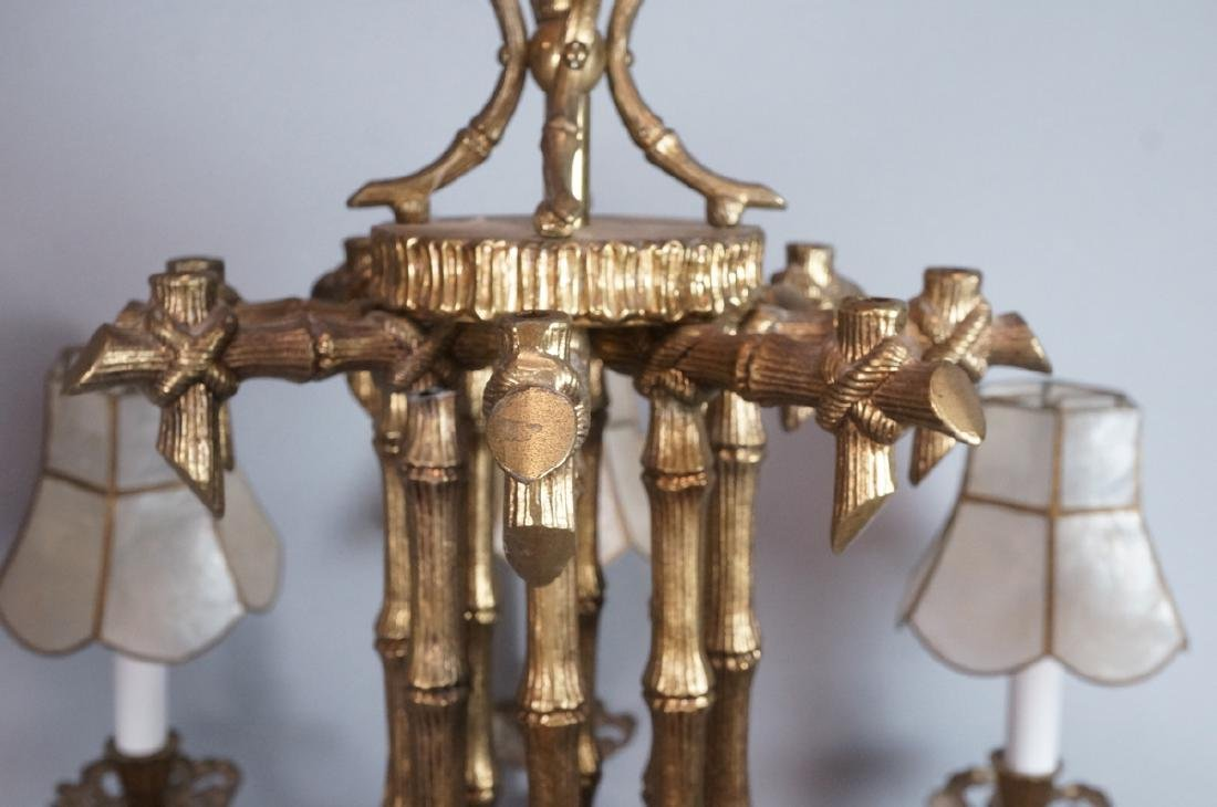 Gold Tone Faux Bamboo 8 Arm Hanging Chandelier. 8 - 3
