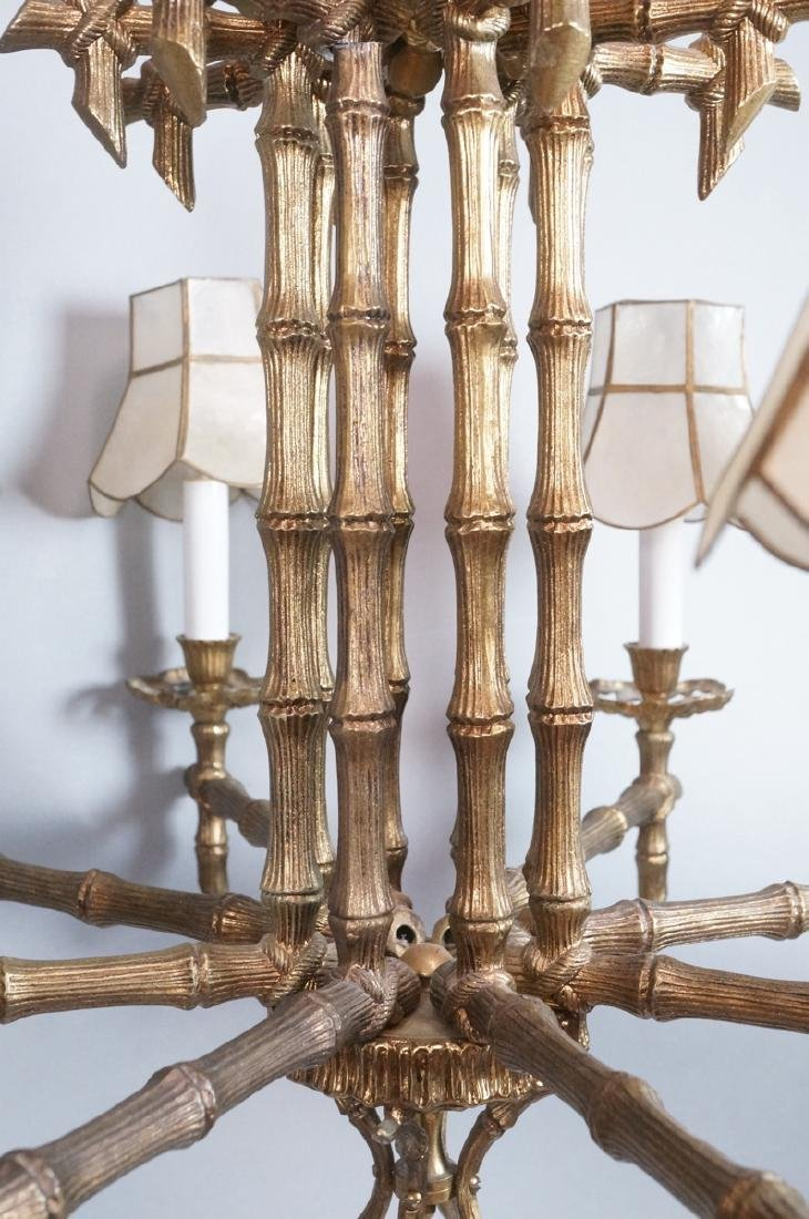 Gold Tone Faux Bamboo 8 Arm Hanging Chandelier. 8 - 4
