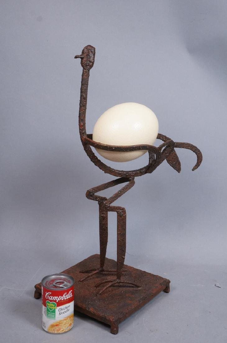 Giacometti Style Iron Ostrich sculpture with Ostr - 3