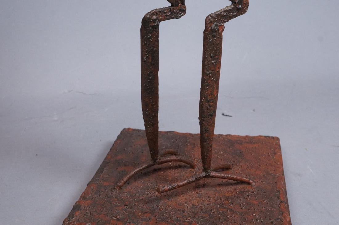 Giacometti Style Iron Ostrich sculpture with Ostr - 8