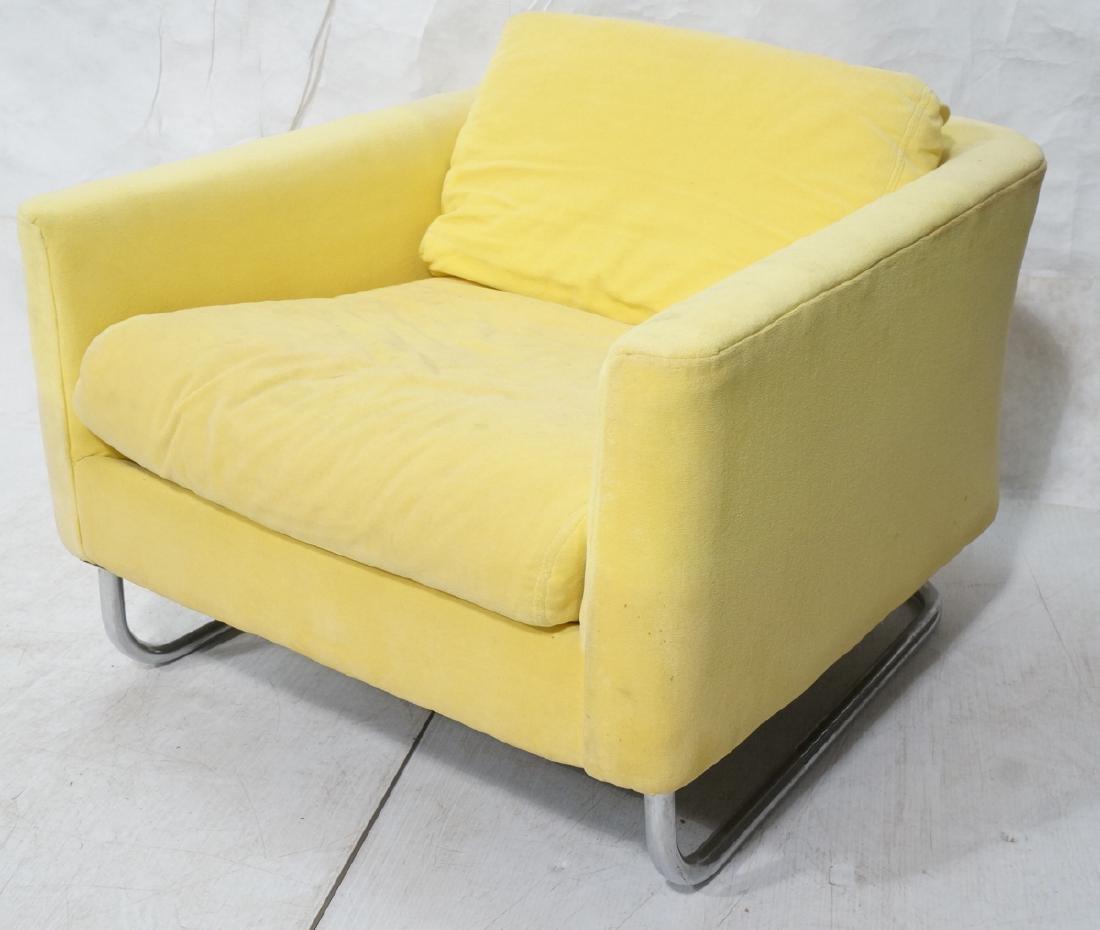 Lemon Yellow Velvet Chrome Tube Lounge Chair. Thi