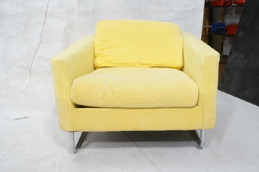 Lemon Yellow Velvet Chrome Tube Lounge Chair. Thi - 2