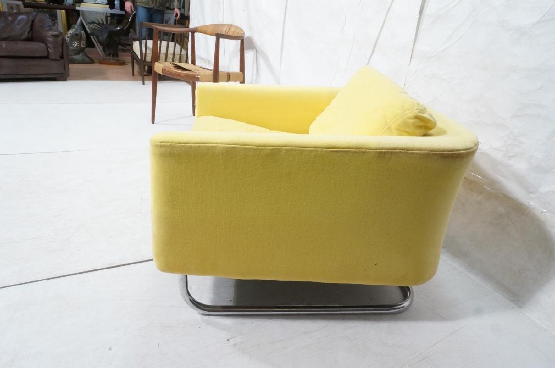 Lemon Yellow Velvet Chrome Tube Lounge Chair. Thi - 3