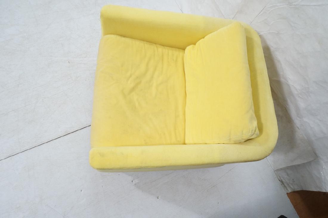 Lemon Yellow Velvet Chrome Tube Lounge Chair. Thi - 4