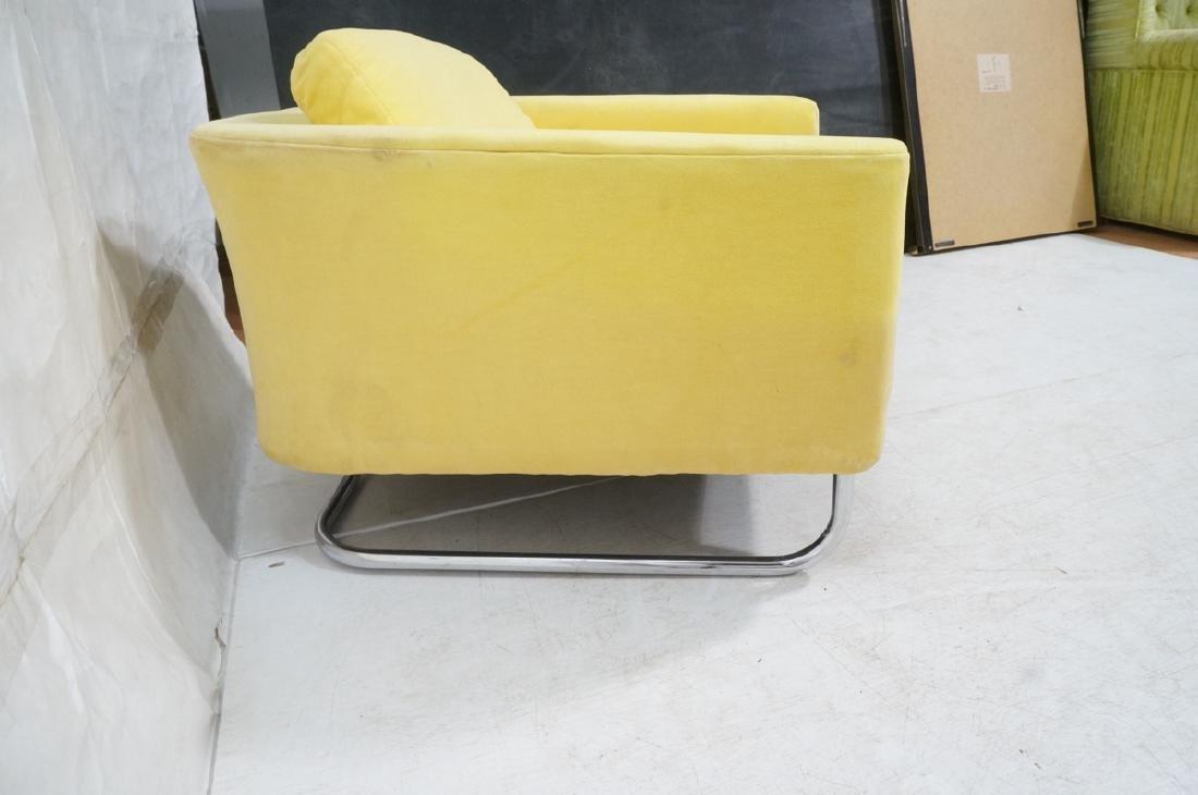 Lemon Yellow Velvet Chrome Tube Lounge Chair. Thi - 5