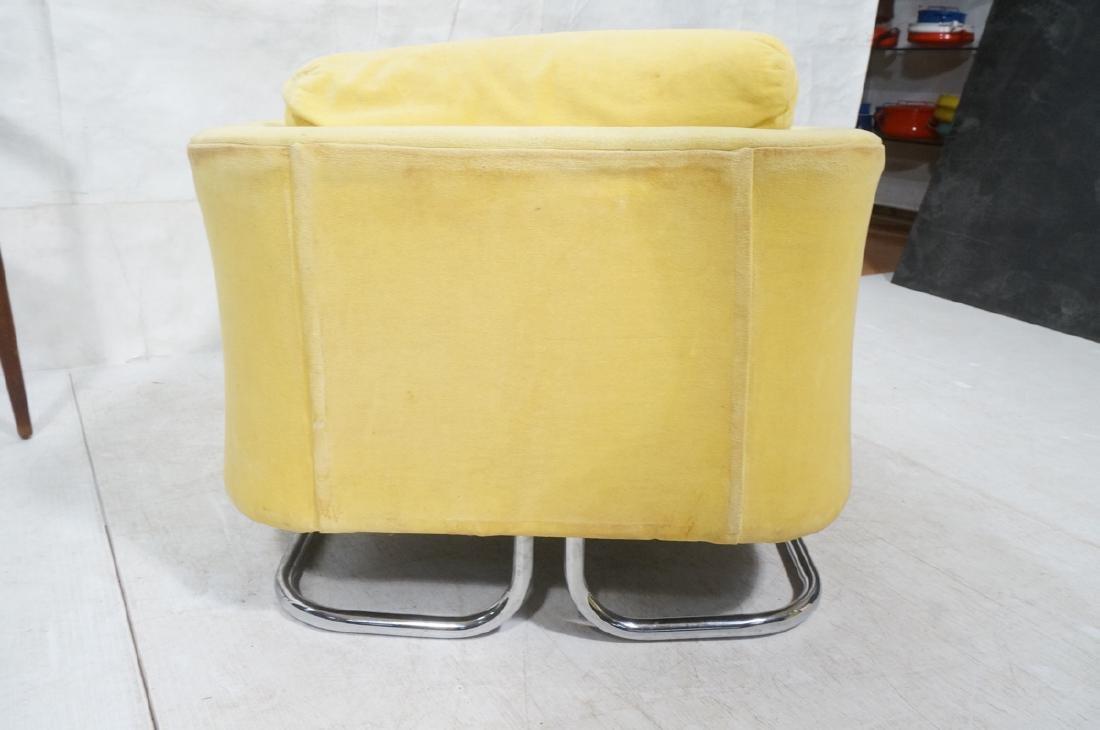 Lemon Yellow Velvet Chrome Tube Lounge Chair. Thi - 6