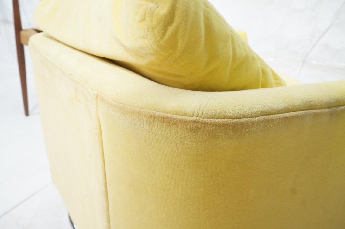Lemon Yellow Velvet Chrome Tube Lounge Chair. Thi - 8