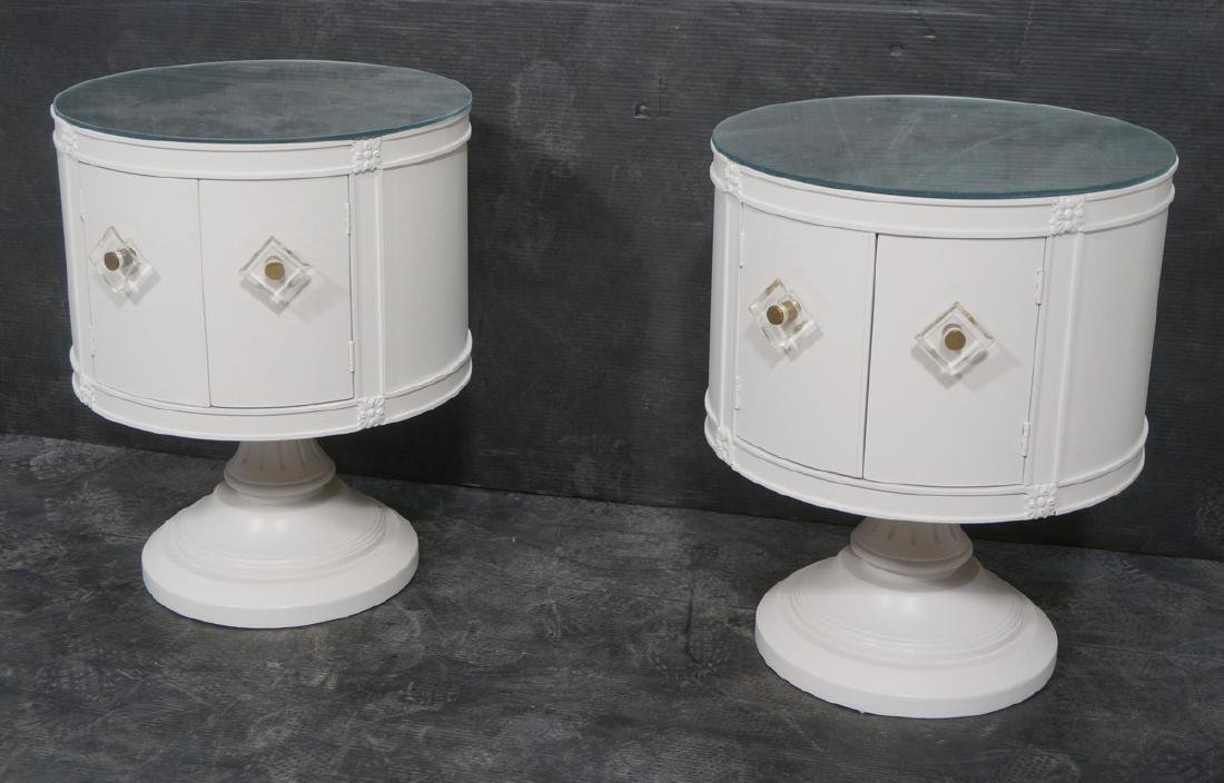 Pr Drum Style Mirror Top End Tables Night Stands.