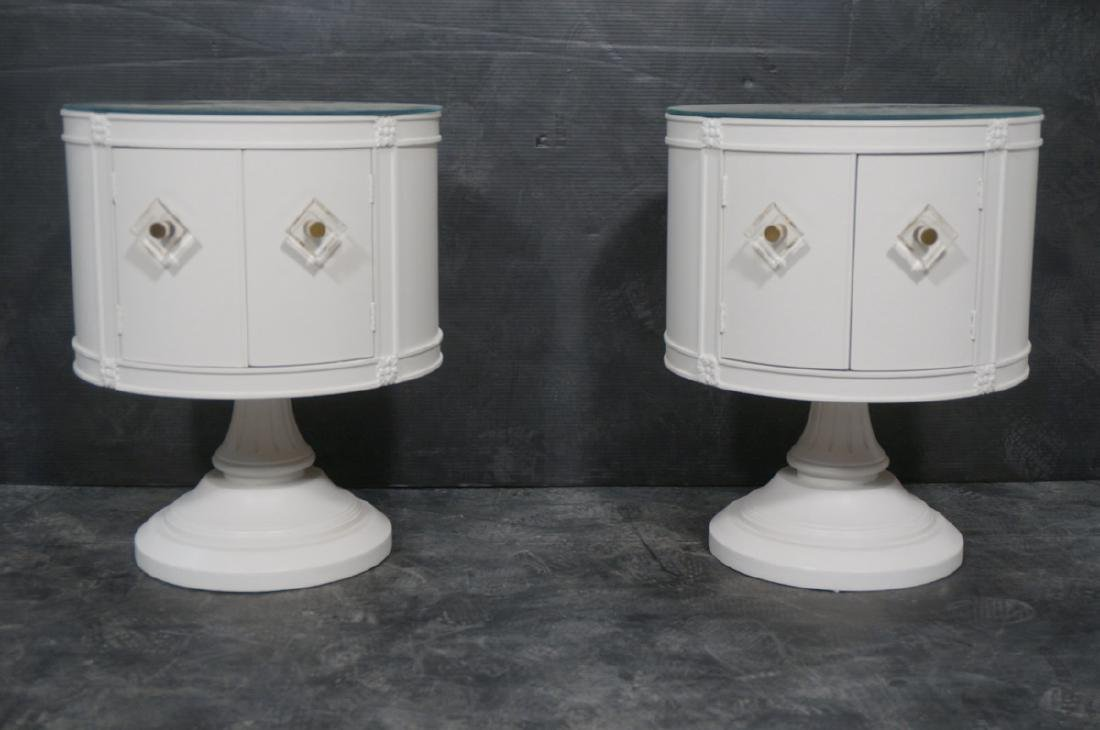 Pr Drum Style Mirror Top End Tables Night Stands. - 2