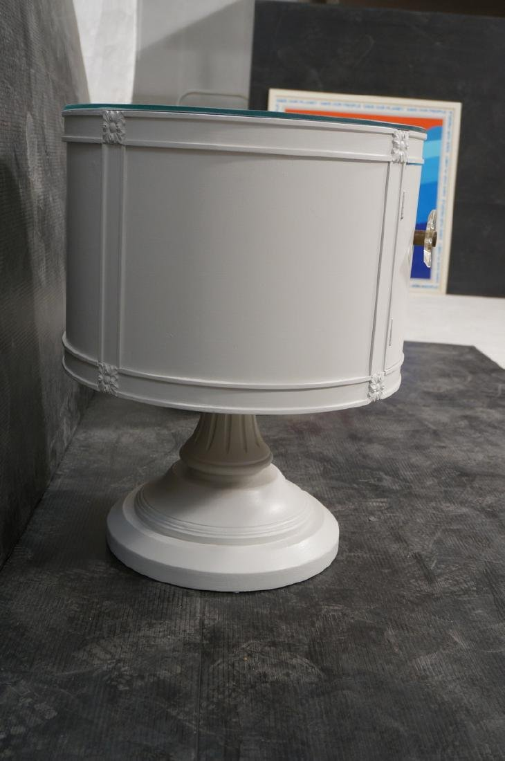 Pr Drum Style Mirror Top End Tables Night Stands. - 3
