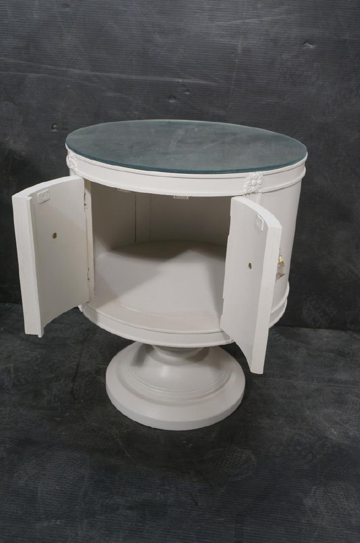 Pr Drum Style Mirror Top End Tables Night Stands. - 5