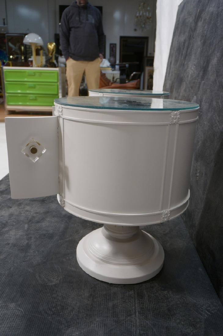 Pr Drum Style Mirror Top End Tables Night Stands. - 6