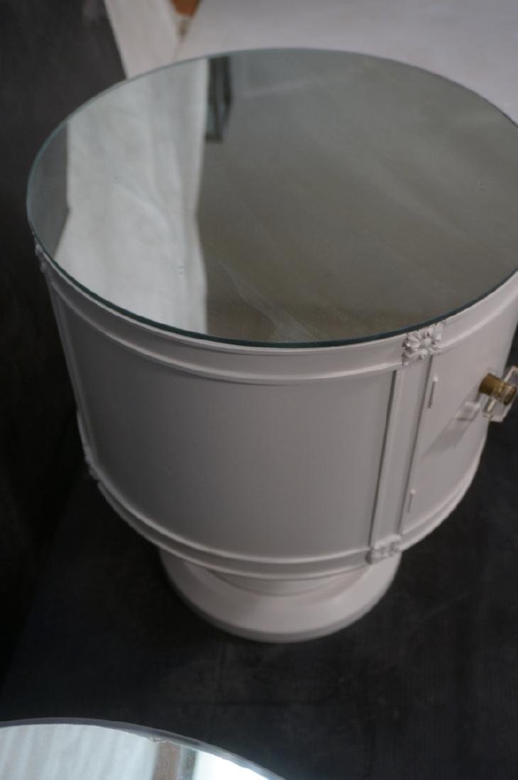 Pr Drum Style Mirror Top End Tables Night Stands. - 8