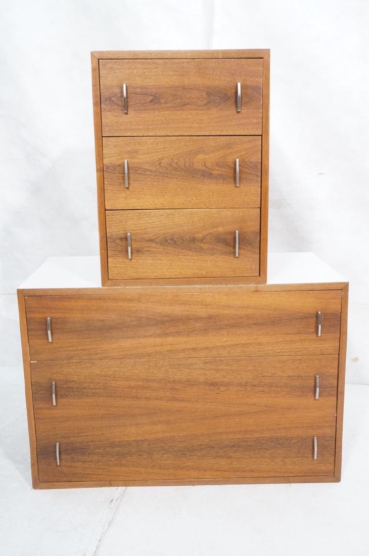 2pc Walnut Wall Mounted Cabinets. Walnut case and - 2