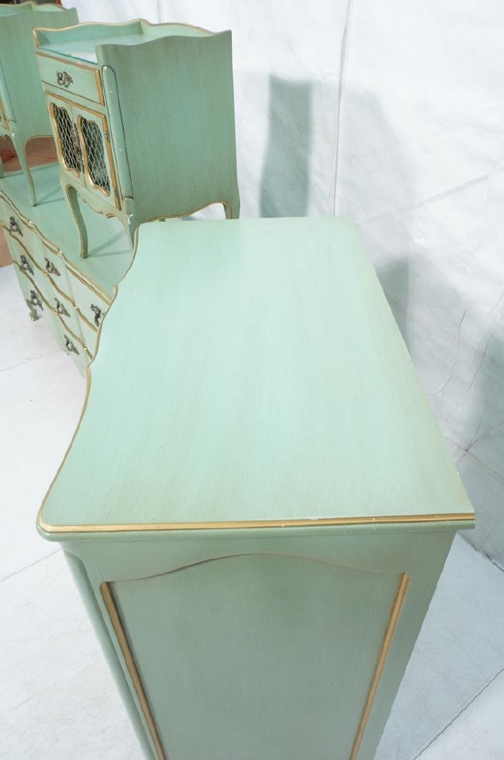 5pc Green French Provincial Bedroom Set. Antiqued - 10