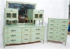5pc Green French Provincial Bedroom Set. Antiqued