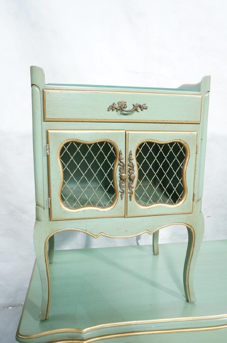 5pc Green French Provincial Bedroom Set. Antiqued - 3