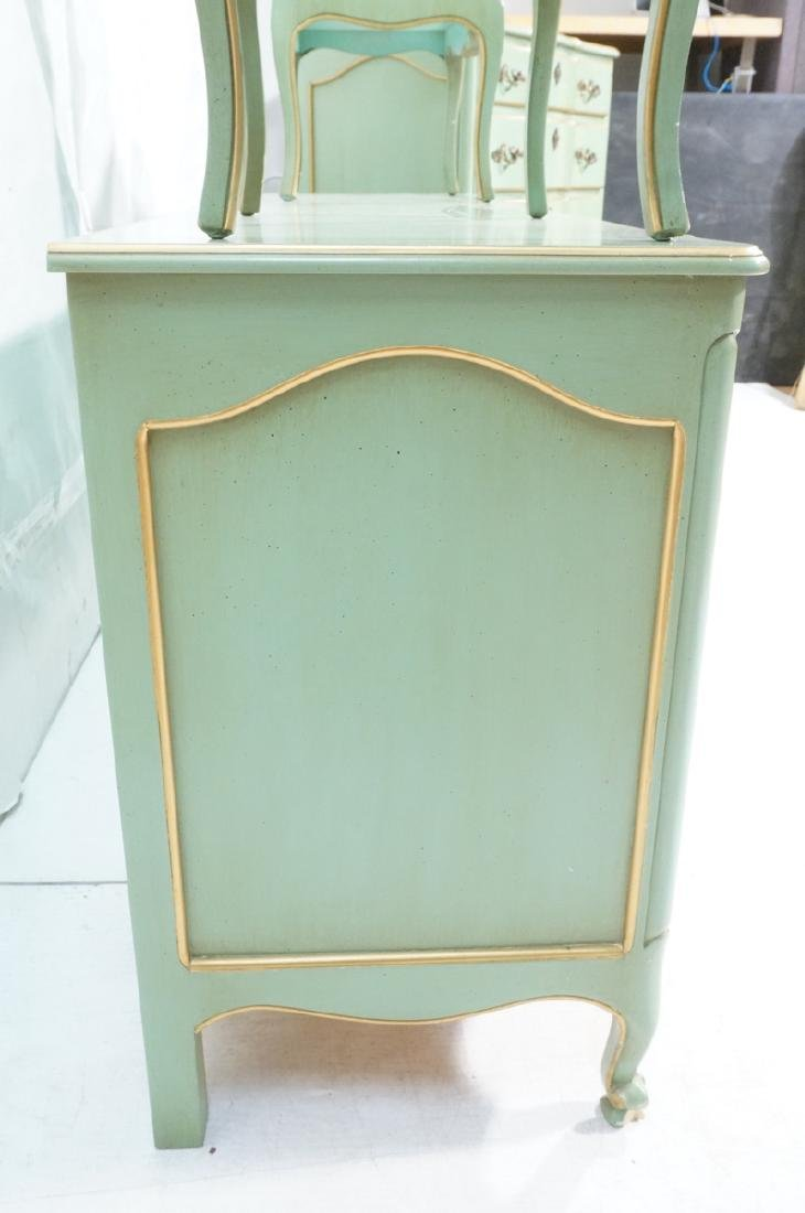 5pc Green French Provincial Bedroom Set. Antiqued - 6