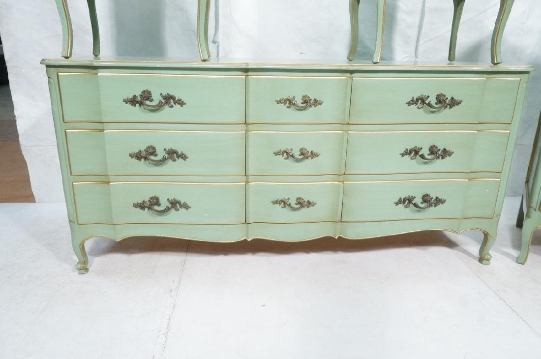 5pc Green French Provincial Bedroom Set. Antiqued - 7