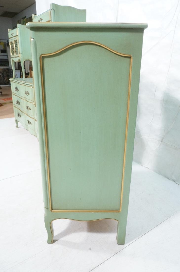 5pc Green French Provincial Bedroom Set. Antiqued - 9