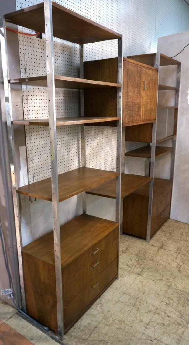 Modern Wood & Metal Cabinet Shelf Unit. 8 Aluminu