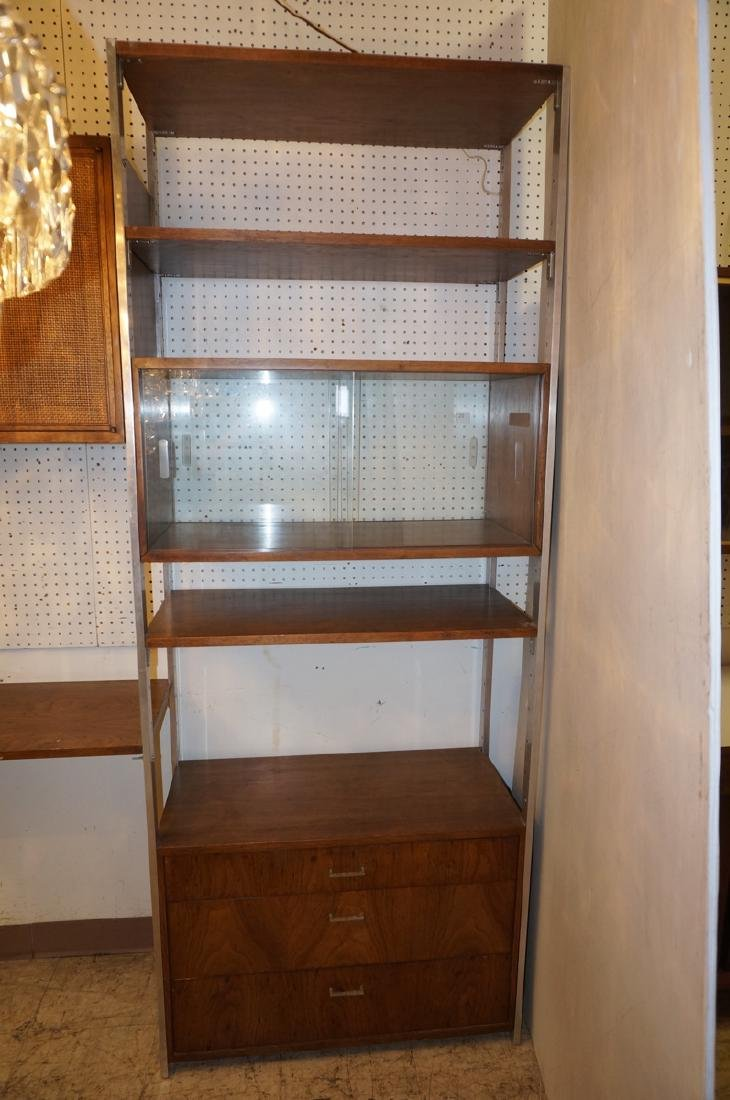 Modern Wood & Metal Cabinet Shelf Unit. 8 Aluminu - 5