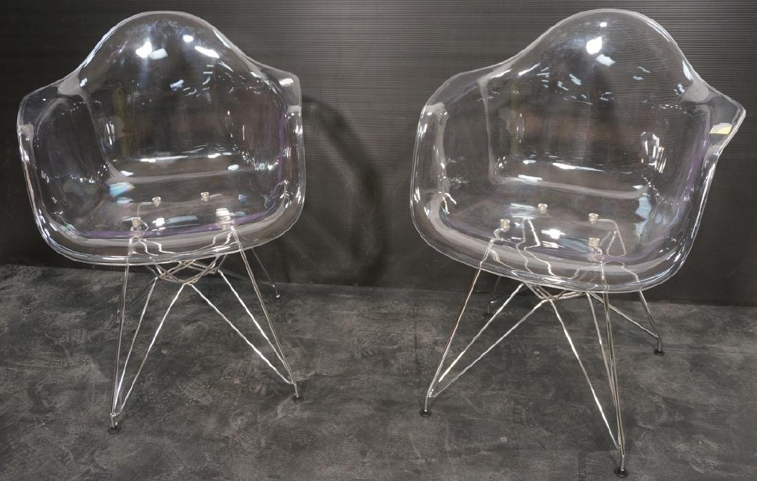 Pr Clear Plastic Shell Eames Style Chairs. Chrome
