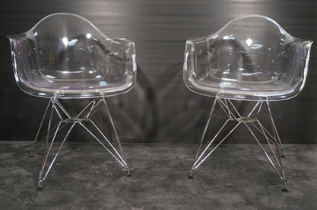 Pr Clear Plastic Shell Eames Style Chairs. Chrome - 2