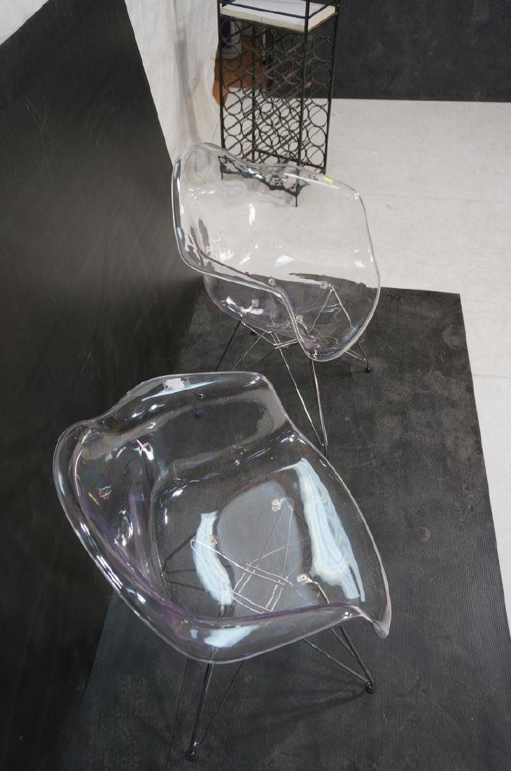 Pr Clear Plastic Shell Eames Style Chairs. Chrome - 4