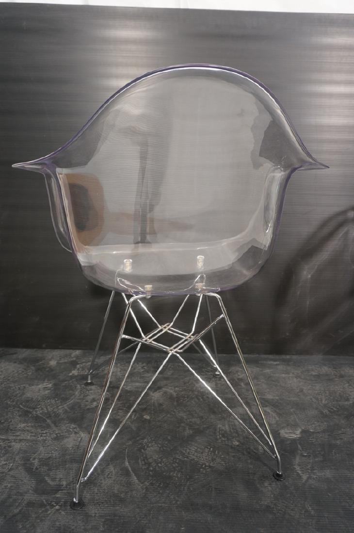 Pr Clear Plastic Shell Eames Style Chairs. Chrome - 5