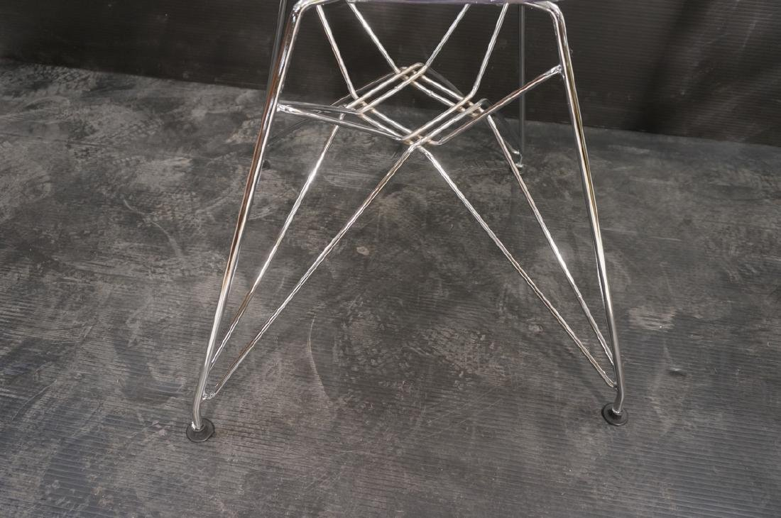 Pr Clear Plastic Shell Eames Style Chairs. Chrome - 6