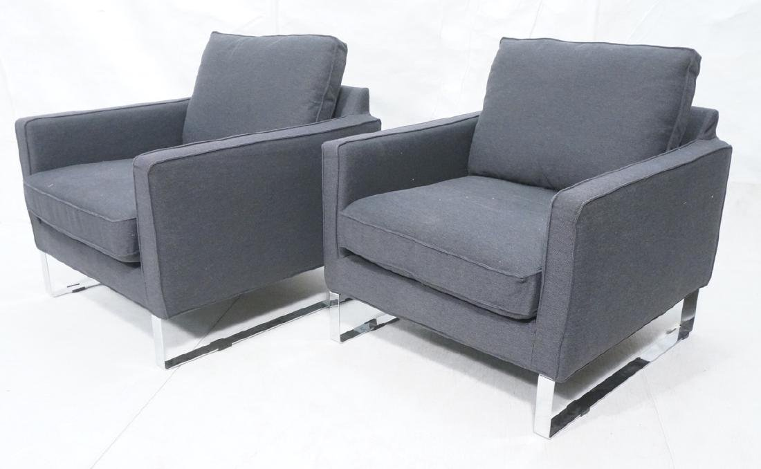 Pr Gray Tweed Chrome Leg Lounge Chairs. Thin flat