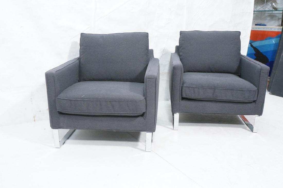 Pr Gray Tweed Chrome Leg Lounge Chairs. Thin flat - 2