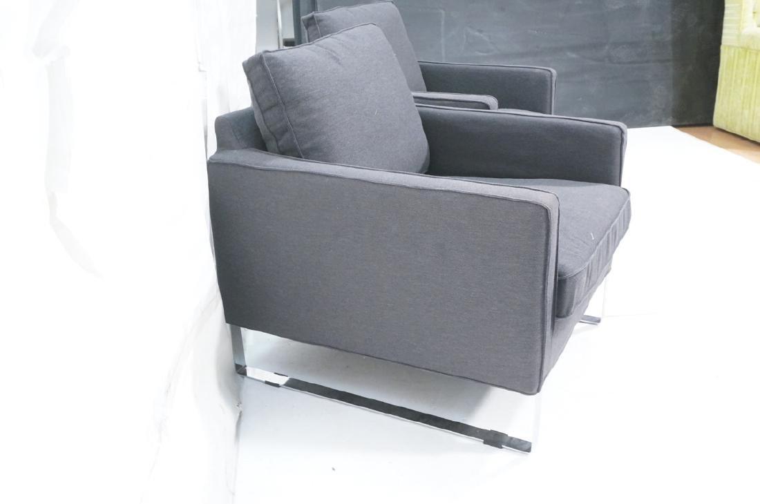 Pr Gray Tweed Chrome Leg Lounge Chairs. Thin flat - 3