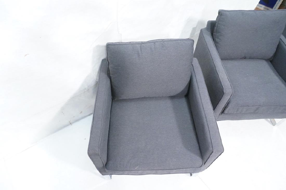Pr Gray Tweed Chrome Leg Lounge Chairs. Thin flat - 5