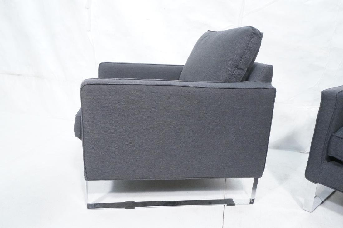 Pr Gray Tweed Chrome Leg Lounge Chairs. Thin flat - 6