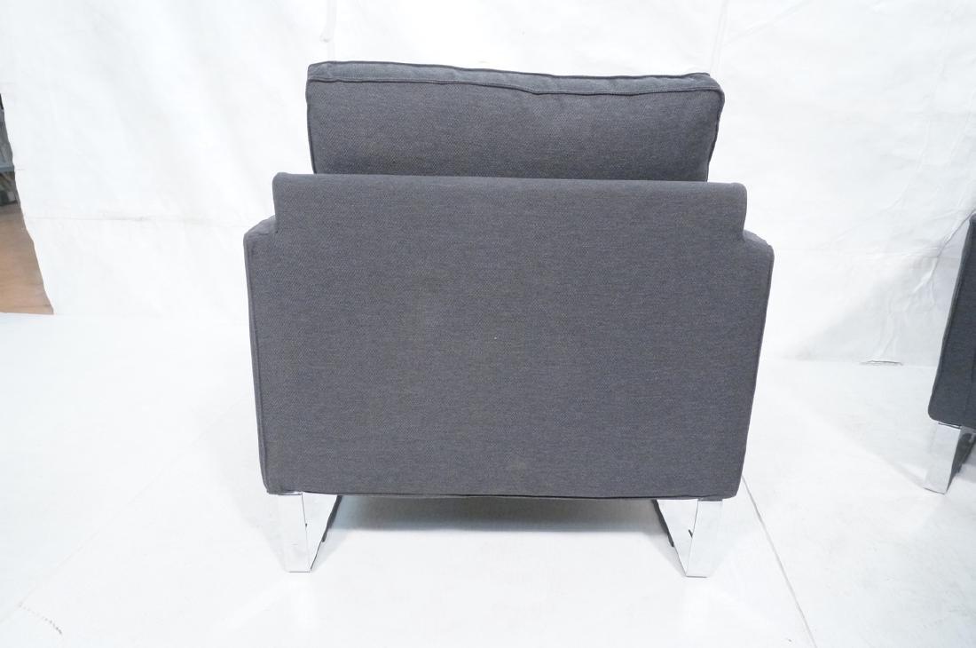 Pr Gray Tweed Chrome Leg Lounge Chairs. Thin flat - 7