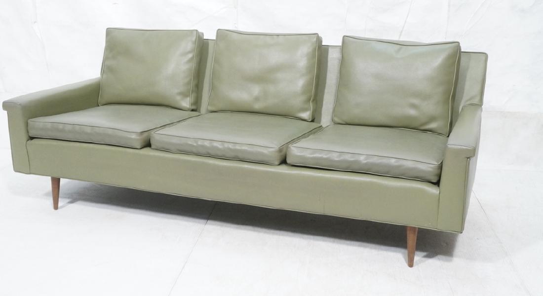 Thayer Coggin Olive Green Vinyl Modern Sofa Couch